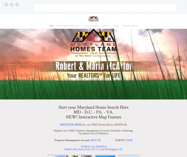 Maryland Homes Team Real Estate Weebly Site with IDX Broker