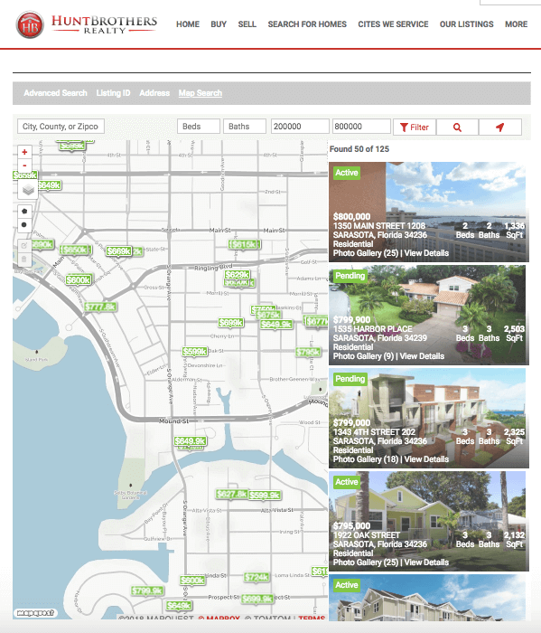 Great map search for IDX Broker