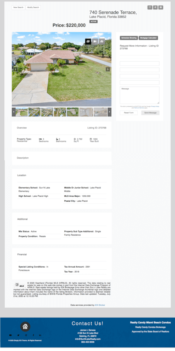 Example of a Houses IDX page for Houzez theme