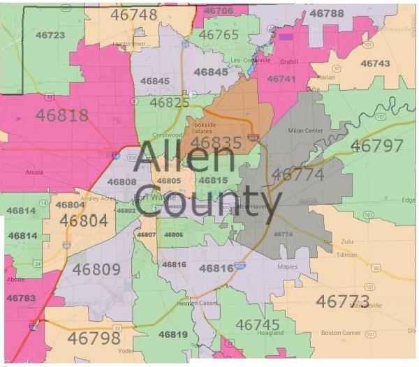 Allen County Zip Code Map allen county zip codes | Fort Wayne Real Estate