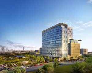 Rendering of One Grove Street, an office project under construction in Houston by Midway Cos.