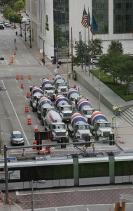 A fleet of concrete trucks line up for massive foundation pour in downtown Houston, Aug. 22 and 23, 2015.
