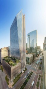 Rendering of Hines' 609 Main at Texas building under construction in downtown Houston.