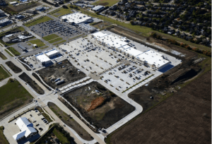 Overhead view of Pearland Parkway retail center developed by Stream Realty.