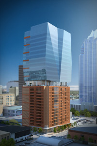 Rendering of 405 Colorado tower in Austin by Duda Paine Architects.