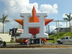 Astros logo outside new stadium in West Palm Beach. Photo credit: Dale King