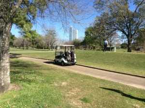 Golfer surveys the fairway at a Houston golf course. (Photo by Ralph Bivins, Realty News Report)