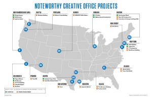 A growing demand for creative office space has prompted redevelopment of old structures, Transwestern reports.