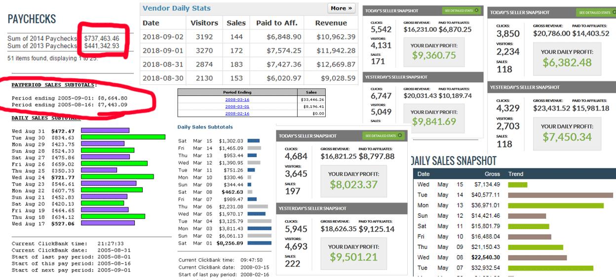 Earnings screenshots