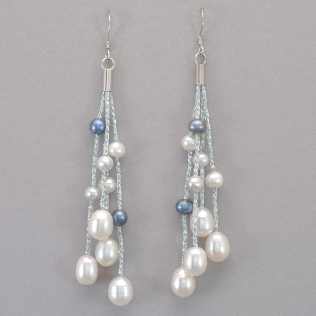 Valdora Pearl and Silver Silk Thread Earrings