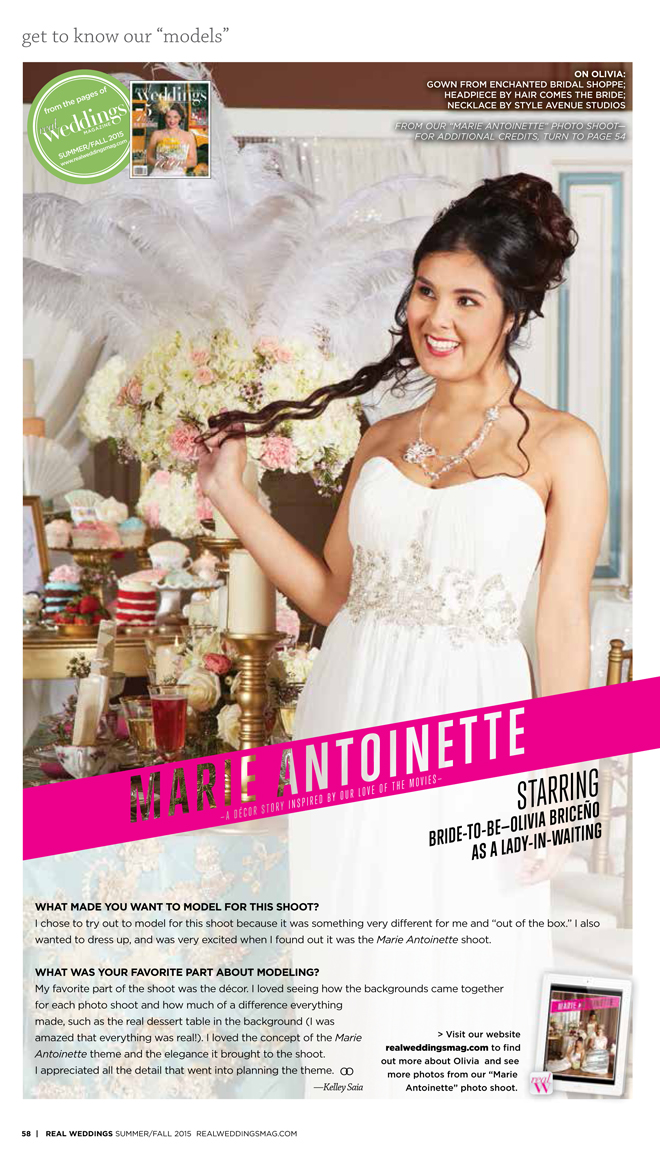 """As seen in the """"Marie Antoinette"""" styled shoot in the Summer/Fall 2015 issue Real Weddings Magazine, www.realweddingsmag.com"""