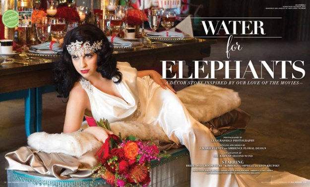 """As seen in the """"Water for Elephants"""" styled shoot in the Summer/Fall 2015 issue Real Weddings Magazine, www.realweddingsmag.com"""