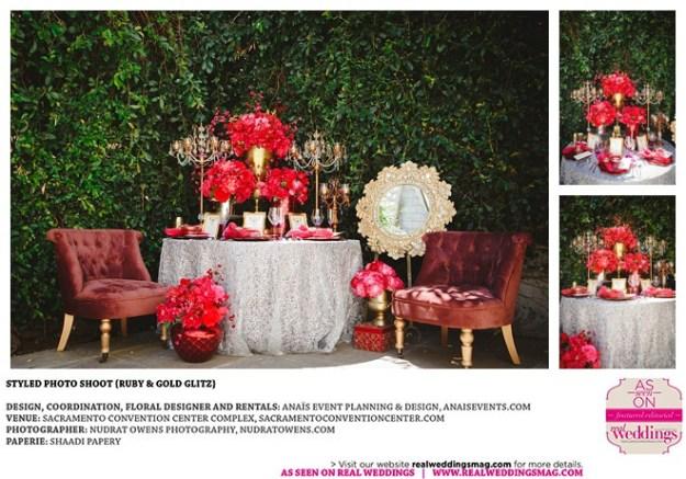 Sacramento Wedding Inspiration: Styled Photo Shoot {Ruby & Gold Glitz}