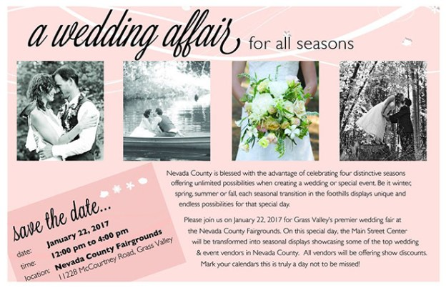 Grass Valley Wedding Event: {Reminder} Attend the Grass Valley Wedding Fair – A Wedding Affair for all Seasons