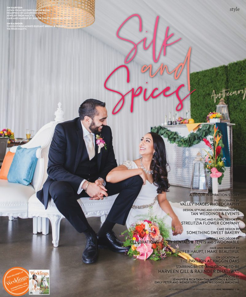 Real Weddings Magazine's Silk & Spices styled shoot. Shot on location at the Pavillion at Haggin Oaks by Valley Images Photography. Produced by Tan Weddings & Events and Real Weddings Magazine.