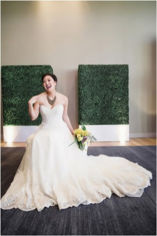 Gown from The Bridal Box; Headpiece by Always Elegant Bridal & Tuxedo; Earrings by Sorelli; Necklace from Macy's; Bouquet by Bloem Decor; Hair by Halo Salon & Day Spa; Makeup by Happily Beautiful Makeup Artistry & Skin Studio; Photography by 2 Girls 20 Cameras on location at Kimpton Sawyer Hotel.