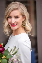 Gown from Second Summer Bride; Earrings by Deepa Gurnani; Bouquet by Placerville Flowers on Main; Hair by Lisa Harter Hair and Makeup Artist; Makeup by Happily Beautiful Makeup Artistry & Skin Studio. Photography by Farrell Photography on location at Hotel Sutter.