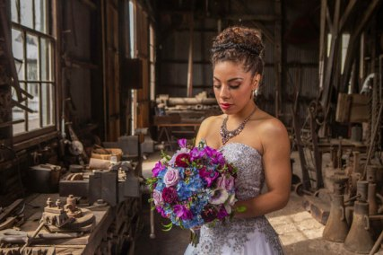 Gown from My Martha Design Boutique; Earrings and necklace by Sorrelli Jewelry; Bracelet by Chloe + Isabel; Bouquet by Strelitzia Flower Company; Hair and makeup by All Dolled Up Hair and Makeup Artistry; Photography by Farrell Photography on location at Hotel Sutter.