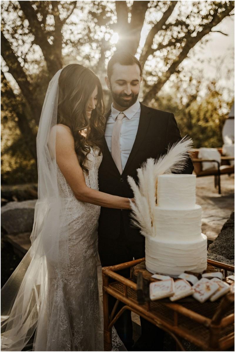 Boho Sacramento Wedding Cake Desserts