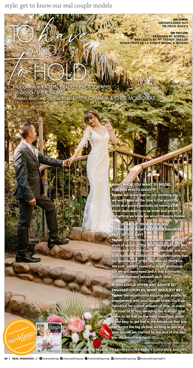 Katelyn Bradley Photography To Have and To Hold Chico Wedding Inspiration seen in Real Weddings Magazine