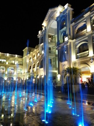 The dancing fountains that look anacrhonistic in the midst of the old-world building facades surrounding Plaza Balanga