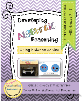an activity based lesson pack designed to help young students develop algebraic reasoning using balance scales