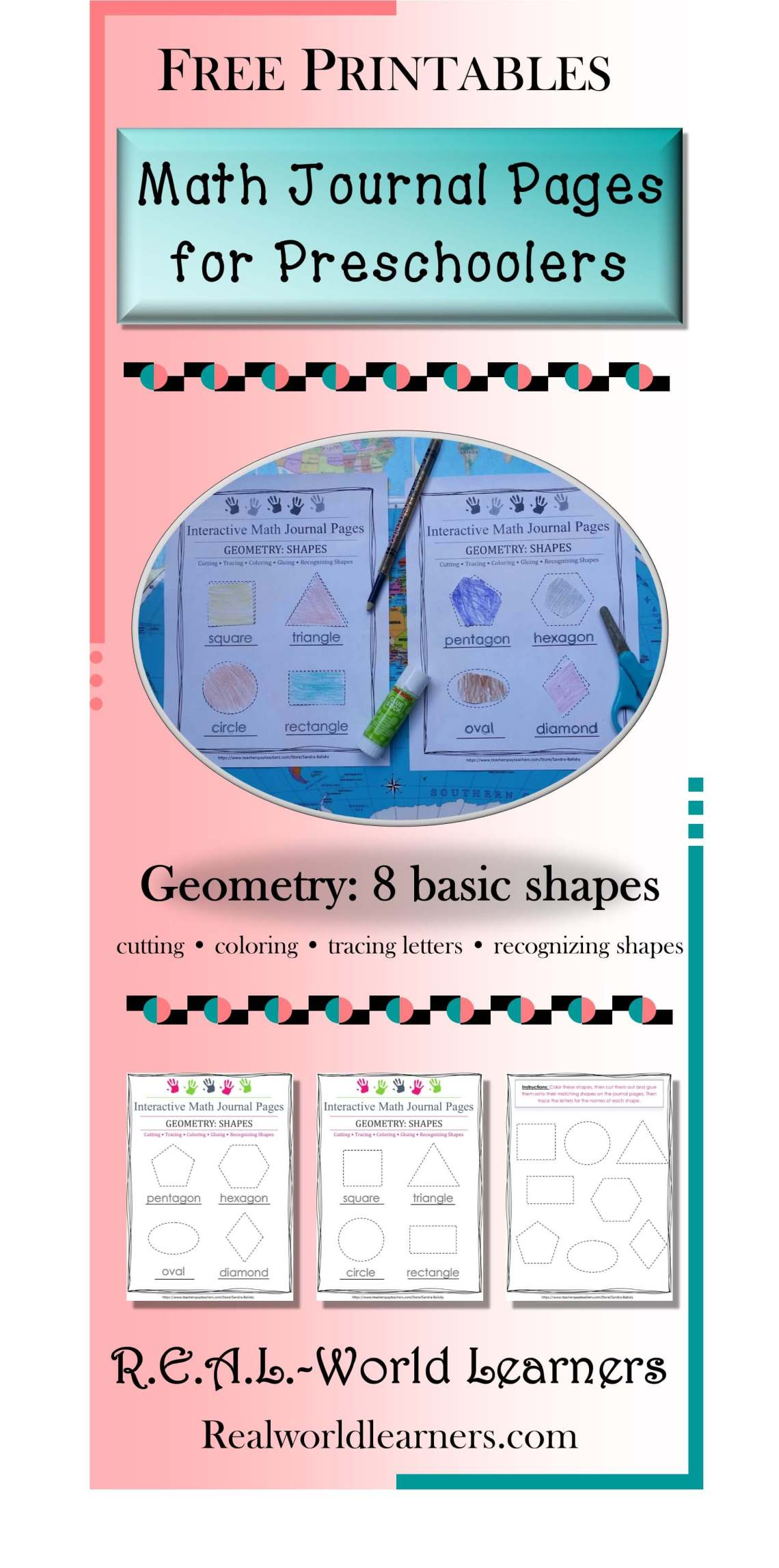 pinterest image for shapes template math journal pages