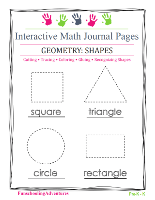 Blog post with FREE INTERACTIVE JOURNAL PAGE DOWNLOAD FOR SHAPES PRACTICE (PRE-K – 1ST GRADE)