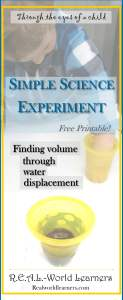 A simple science experiment about finding the volume of an object through water displacement -- includes a free printable in the series of posts