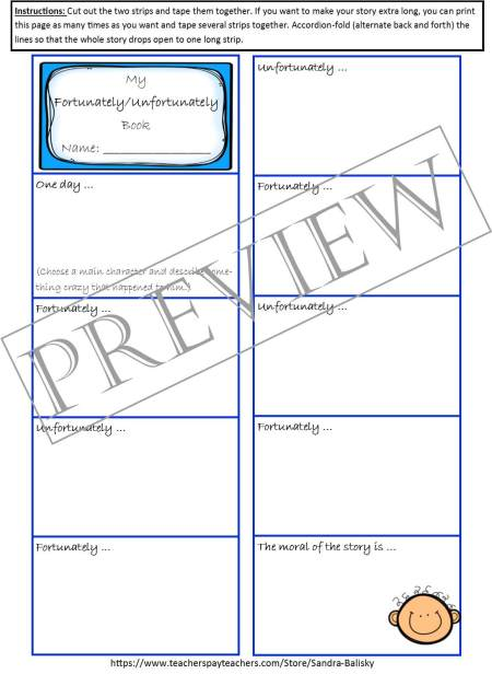 Storytelling activities, prompts, and templates with examples   Fortunately/Unfortunately   Set includes 4 free printable story forms to help encourage young children develop creative thinking skills