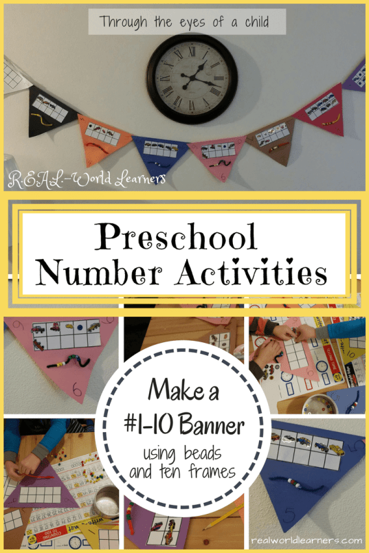Preschool number activities - make a 1-10 banner using beads and ten frames