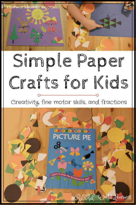 Paper crafts with kids | Cut up circles into fraction pieces and use them to make geometric designs or creative creatures. | Picture Pie by Ed Emberley