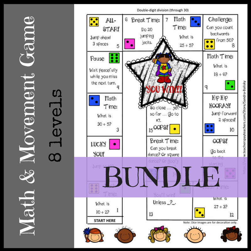 Math Game Boards for addition through division