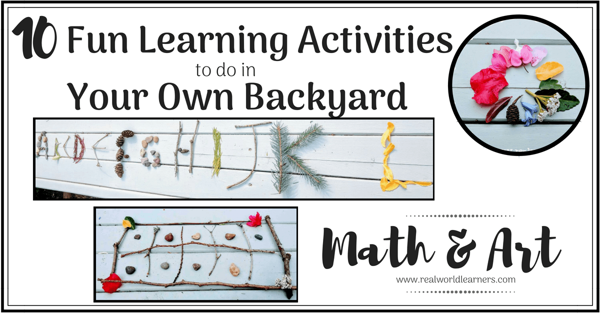 Outside fun learning activities: Math and Art