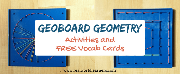 FREE PRINTABLE - Geoboard Geometry - activities and vocab cards to help kids learn fundamental Geometry concepts using a geoboard