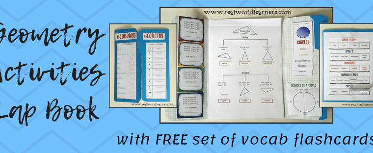 Geometry Activities Lapbook with FREE set of vocabulary flashcards