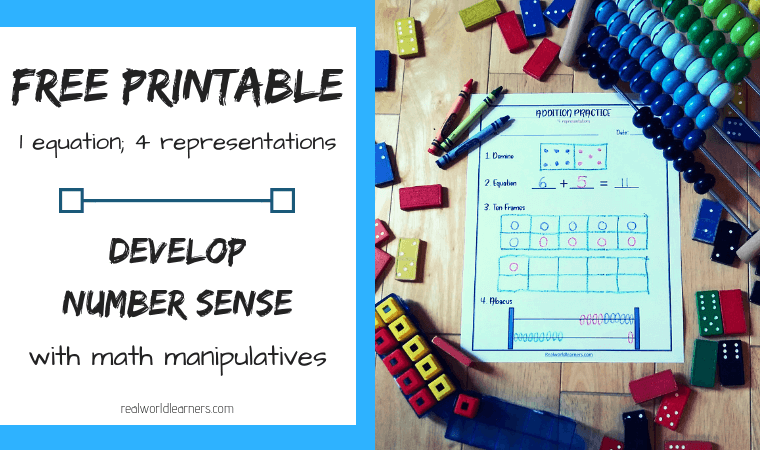 Manipulatives in Math; develop number sense using this free printable addition activity #Math #Addition #freeprintables #realworldlearners