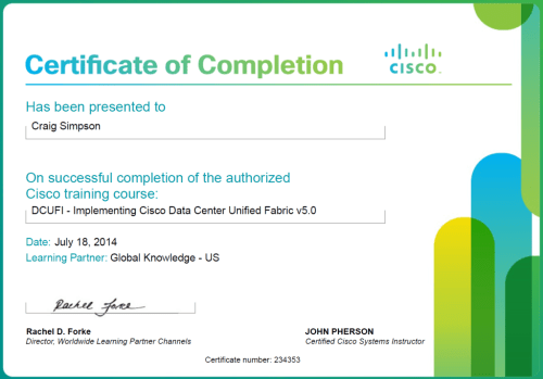 Cisco Certified Course Completion Certificate DCUFI