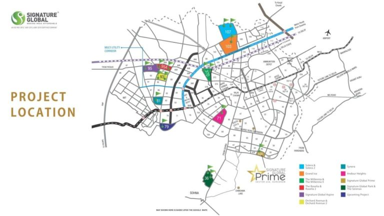 Signature Global Prime Affordable Housing Sector 63A Gurgaon Golf Course Extension Road Gurgaon Affordable Affordable Homes Location-Map