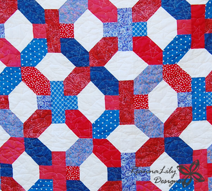 X and + Quilt | Jen Eskridge | ReannaLily Designs | Seamingly Accurate Seam Guide | Patriotic Quilt