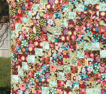 Scrappy Trip Along Brown Quilt