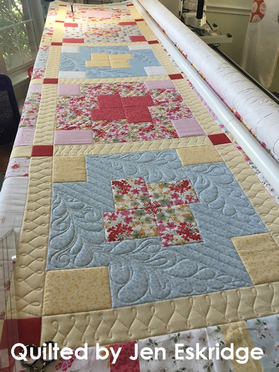Spinning 4-Patch longarm quilted by Jen Eskridge | ReannaLily Designs | ReannaLily Quilts | Nancy Zieman