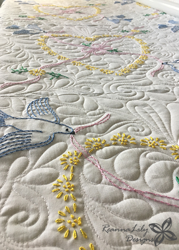 Hand Embroidered Quilt | Finished by ReannaLily Quilts | Jen Eskridge | Customer Quilt