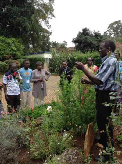 Photo of George teaching on taking Artemisia cuttings at a Natural Medicines Training Seminar