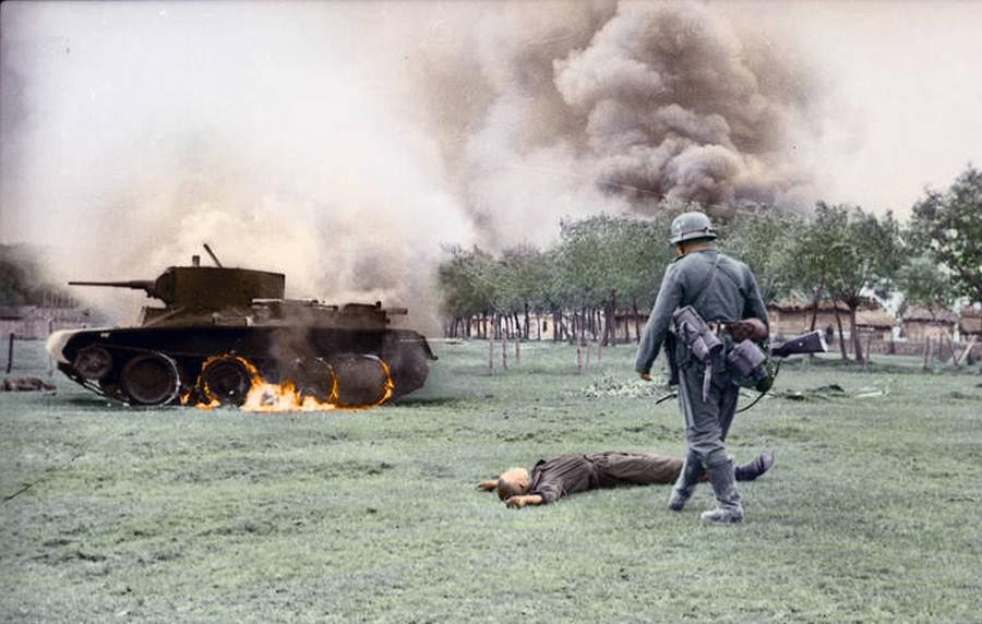 Color photo of Operation Barbarossa in WW2.
