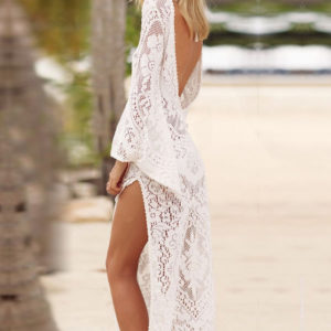 Backless Hollow Out White Swimsuit Cover Up Dress