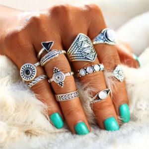 Vintage Gold/Silver Women's Crystal Rings Set