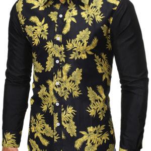 Fashion Botanic Print Casual Shirts For Men