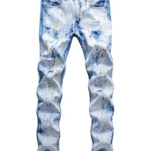 Street Wear Inks Printed Straight Leg Jeans
