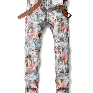 Chic Printed Mid Waist Men's Skinny Jeans